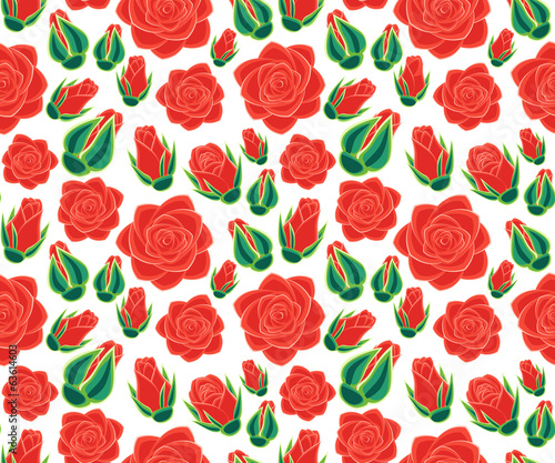 rose with buds seamless pattern
