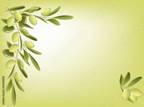 green olives on bright background illustration