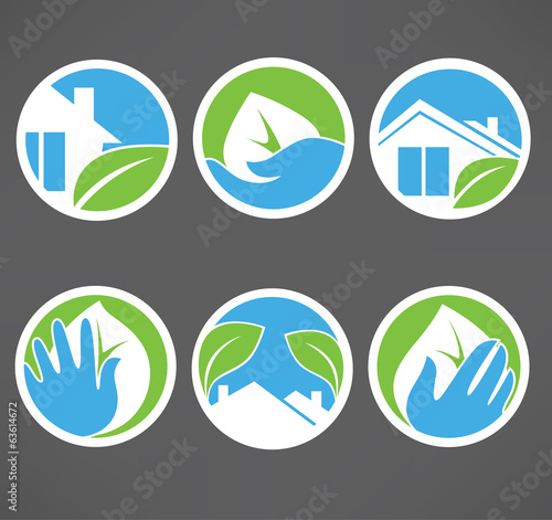 vector collection of ecological property symbols, signs and icon
