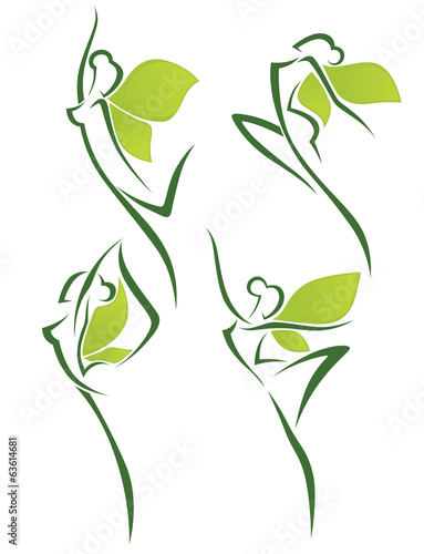 organic beauty, vector collection of abstract women in ballet po