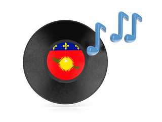 Vinyl disk with flag of guadeloupe