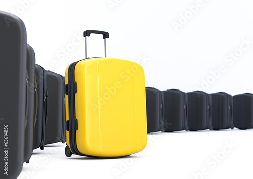 Yellow Suitcase. Difference concept