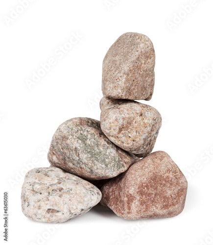Pyramid of stones are isolated on white background