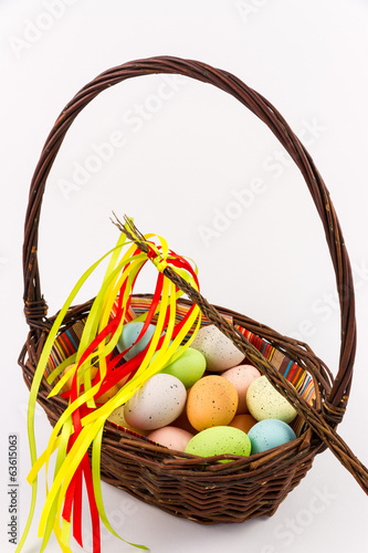 Easter eggs in the wicker basket