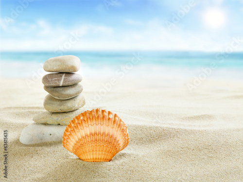 canvas print picture Shell and stones on the beach