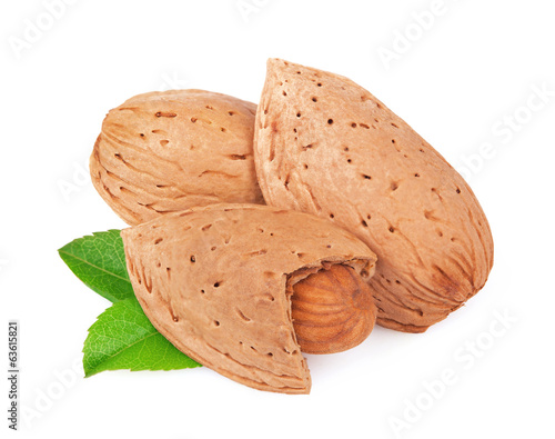 Almonds on white