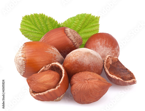 canvas print picture Hazelnuts on white background