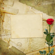 Vintage aged background, old Postcard, envelopes and rose