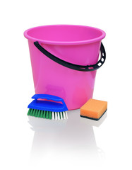 Bright crimson bucket, blue brush and orange sponge