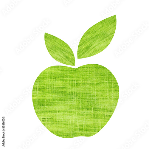 Green textile apple with leaf isolated on white background