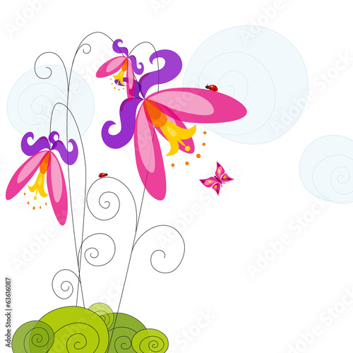 Colorful abstract flower and butterfly.