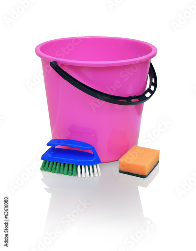 Bright crimson bucket, blue brush and orange sponge