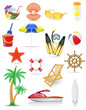 set of beach icons vector illustration - 63616269