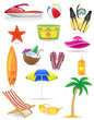 set of beach icons vector illustration - 63616286