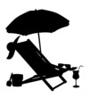 silhouette of beach chairs and umbrellas vector illustration - 63616297