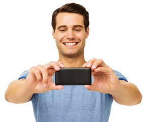 Man Photographing Through Smart Phone