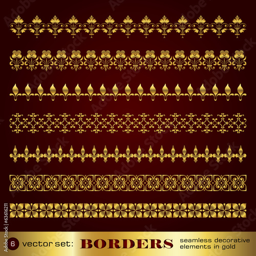 Borders seamless decorative elements in gold set 6