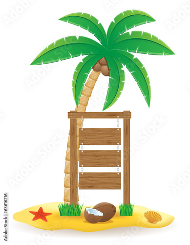 palm tree and wooden pointer board icons vector illustration