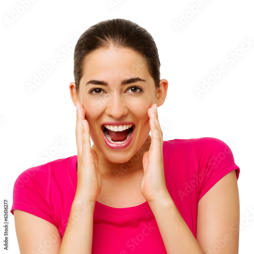 Surprised Woman Touching Cheeks Over White Background