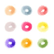 Vector watercolor abstract donuts shaped dots of different colou