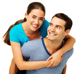 Woman Receiving Piggyback Ride From Man