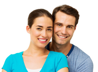 Man And Woman Smiling Against White Background