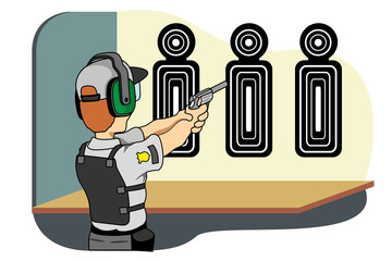 Safety practicing target shooting