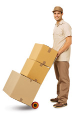 Confident Deliveryman Delivering Cardboard Boxes