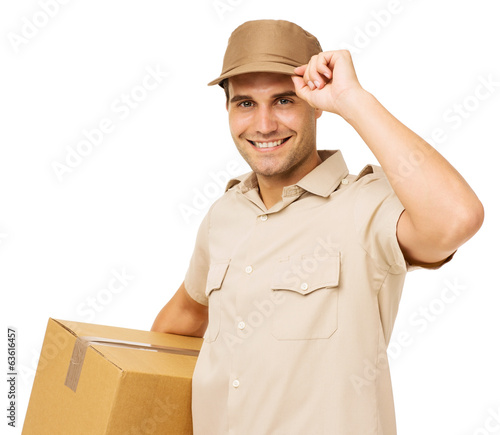 Smiling Deliveryman Carrying Cardboard Box