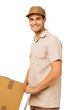 Confident Deliveryman With Cardboard Box