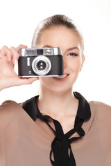 Frau mit Kamera, fotografieren..