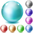 Set of multicolored glossy spheres