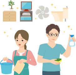 家の掃除をする若い男女