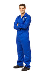 Mechanic In Overalls Holding Wrench