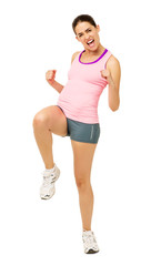 Cheerful Woman Performing Zumba Dance