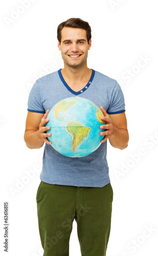 Happy Young Man Holding Globe