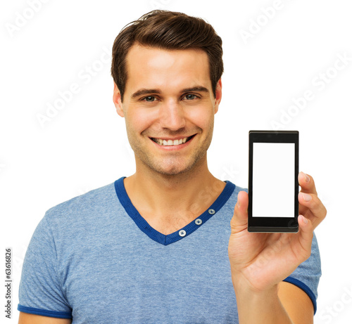 Happy Man Advertising Smart Phone