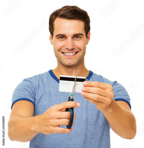 Man Cutting Credit Card With Scissor