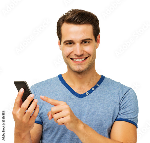 Happy Man Touching Smart Phone