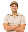 Confident Deliveryman Standing Arms Crossed