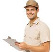 Happy Deliveryman Holding Clipboard