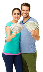 Couple Holding Fanned Us Paper Currency