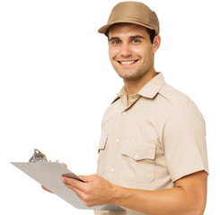 Happy Deliveryman Holding Clipboard