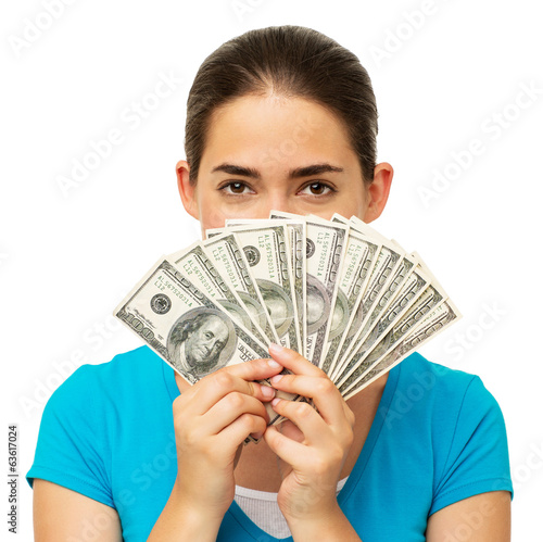 Woman Holding Fanned Out Dollars In Front Of Face