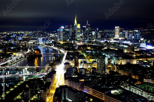 canvas print picture Frankfurt am Main bei Nacht