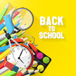 Colorful school background in flat design style