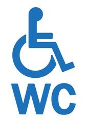 WC-Zeichen mit Rollstuhl, blau