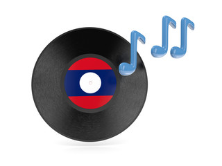 Vinyl disk with flag of laos