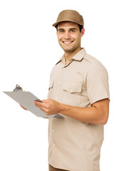 Confident Deliveryman Holding Clipboard