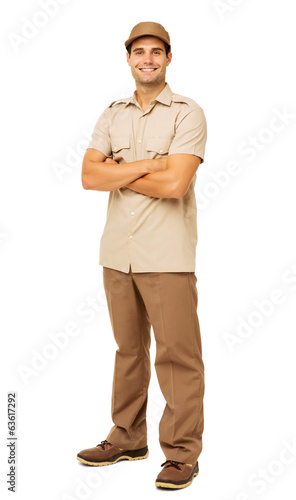 Smiling Deliveryman Standing Arms Crossed